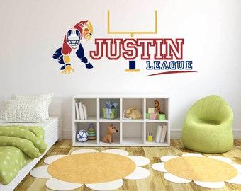 Custom Name Football player  - Football   -  Wall Decal For Home Nursery Decoration