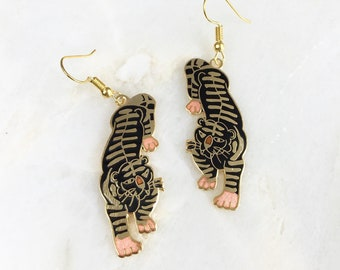 Vintage Cloisonne Tiger Earrings