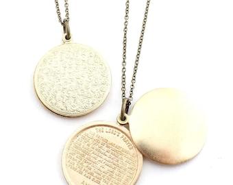 Lord's Prayer swivel locket pendant necklace Religious, Christian, Christmas Gift, Baptism, Confirmation, Modern Christianity, under 35 gift