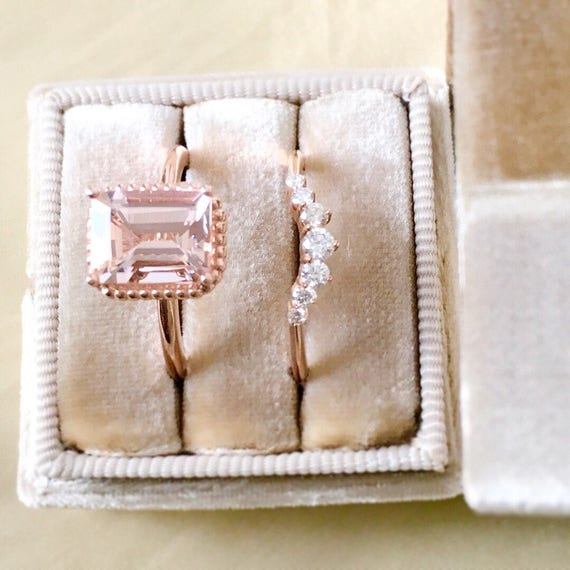Emerald Cut Morganite Rose Gold Engagement Ring