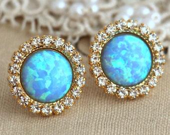 Opal earrings, Opal Stud Earrings, Opal Studs, Blue Opal earrings, Swarovski Crystal Studs bridesmaids jewelry, wedding jewelry, Blue Studsa