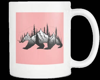 Bear , Mountain and Forest Mug 11oz