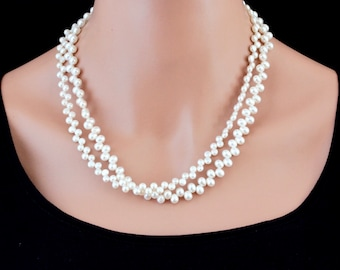 Double Strand Pearl Necklace, White Pearl Necklace, Multi Strand Pearl Necklace, Real Pearl Necklace, Freshwater Pearl Jewelry for Her