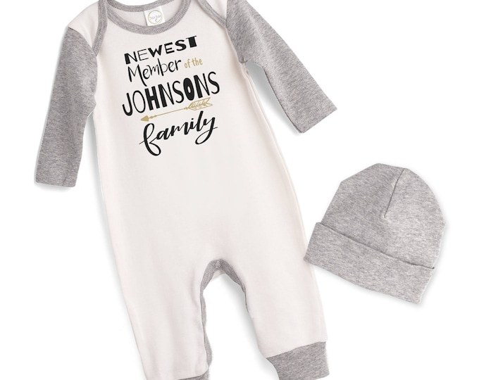 Personalized Newborn Coming Home Outfit, Newborn Boy Girl Take Home Romper, Gray, Newest Member of the Family, Tesababe