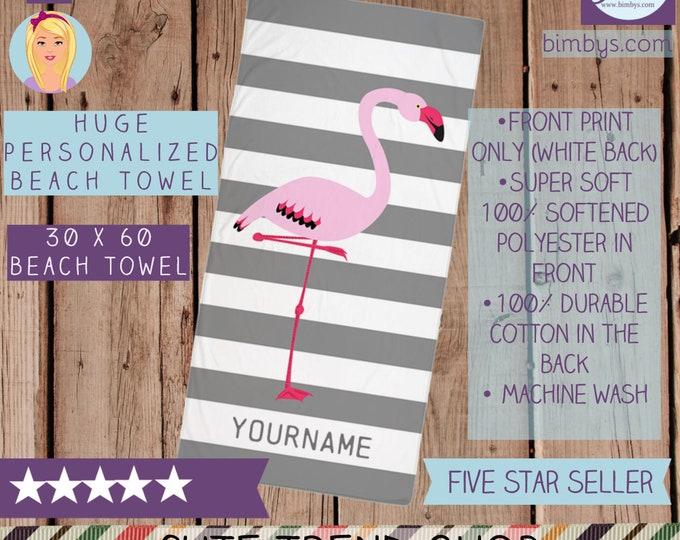 Personalized Flamingo Beach Towel - Gray and White Stripes with Pink Flamingo Custom Name Beach Towel - Large Towel - stripe towel - bath