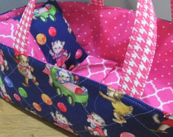 Doll Carrier,  Kitties and Puppies with Balloons,  Pink Lining, 14 Inches Long, Doll Basket