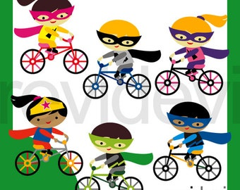 Superhero riding bicycle clipart / kids ride bike clip art, commercial use, instant download graphics.