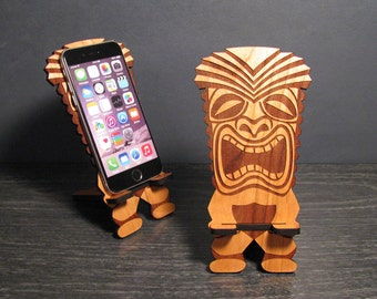 Tiki Bar Decor - Retro Tiki Statue Shaped Cell Phone Stand iPhone Dock - Universal, iPhone 6, iPhone Plus, iPhone 5, Samsung Galaxy S5 S4