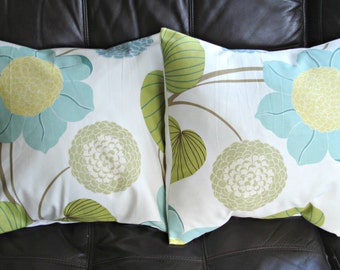 Throw pillow covers duck egg blue yellow green gray grey flower leaf design cushion  designer fabric covers Two 18 x 18  inch handmade