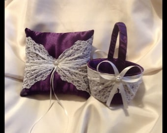 lace flower girl basket and pillow dark purple satin custom made