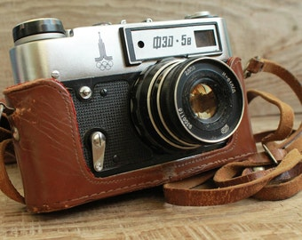 rare camera  vintage collectible camera  Old Vintage Soviet  Camera  Fed-5B Olympic  with lens  Industar-61 L/D / 35 mm photo camera / СССР