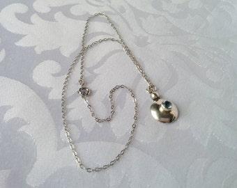 Sterling Aquamarine Pendant, Sterling Silver Aquamarine Pendant and Chain, Aquamarine