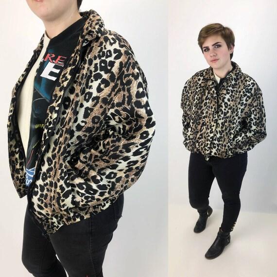 90's SILK Leopard Print Wind Breaker Small - Jungle Cats Cheetah Print Silk Zip Up Windbreaker - VTG Safari Print Leopard Silk Bomber Jacket
