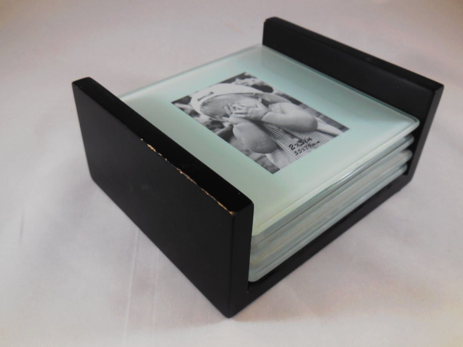 Tempered glass photo frame coasters with rack, set of 4 coasters and ...