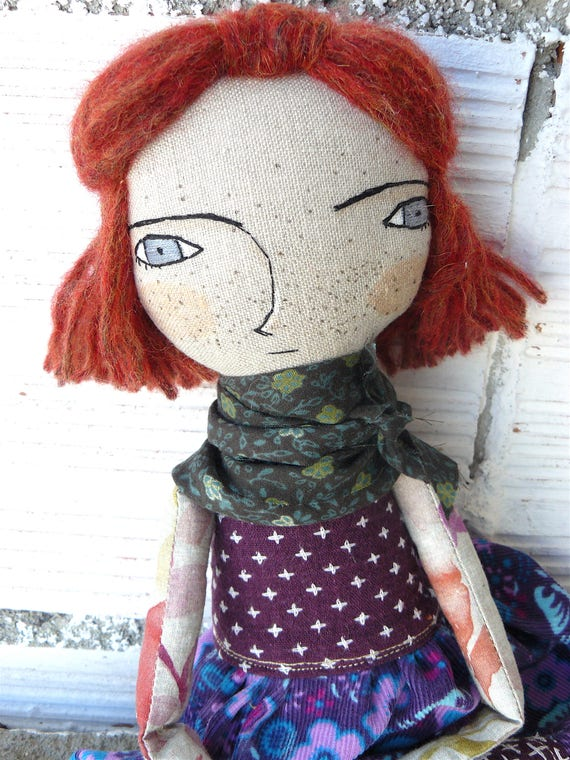 New more stylized model. Art doll in cotton. Silk and wool hair. 16 inches. Brown hair