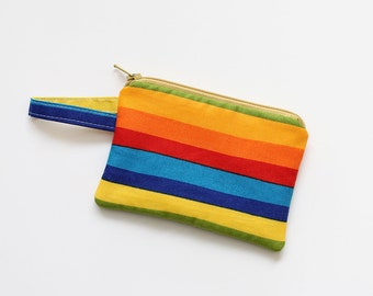 Rainbow zipper pouch, small, pocket wallet, Change purse, cash wallet, mini, gift card, travel essential oil, coin purse, kids money bag