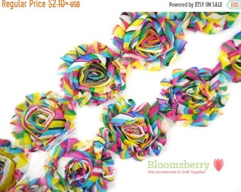 "Clearance 50% OFF 2.5"" Printed Shabby Rose Trim- Rainbow - Chiffon Trim - Rainbow Shabby Rose Trim - Hair Accessories Supplies"
