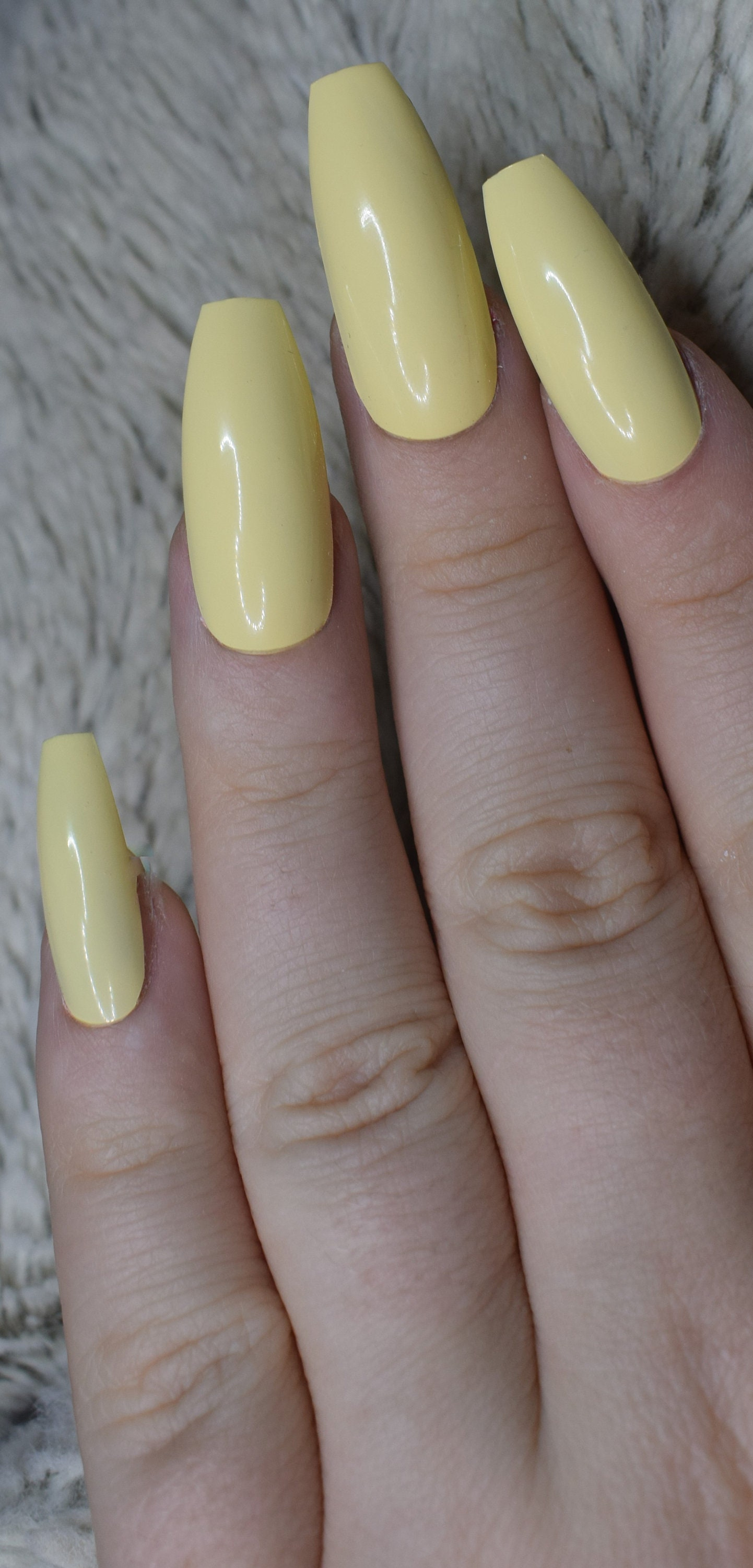 Pastel Yellow Fake Nails, Long Coffin False Nails, Hand Painted ...
