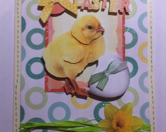 Card 3D Easter chick and egg