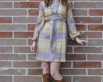 Plaid Dress - Wool Dress, Purple Plaid Dress, Plaid Mini Dress, Vintage Dresses