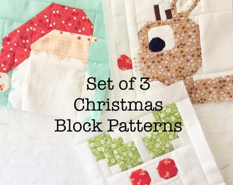 Set of 3 Christmas Quilt Block Patterns Rudolph, Holly Jolly, and Dear Santa Instructions for 6 inch and 12 inch blocks 15% Savings