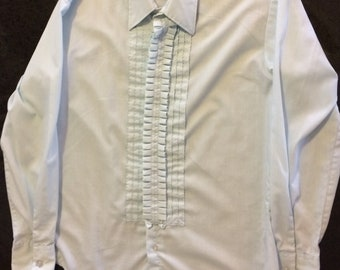 Vintage Tuxedo Shirt Mens 70s Formal Dress Pale Blue Ruffle After Six M