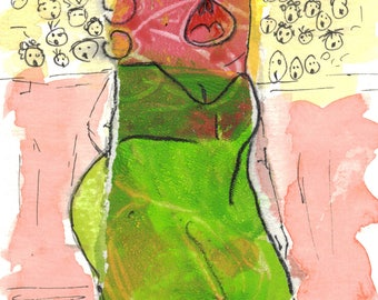 It's not all over until the fat lady sings, postcard, whimsical doodle character.