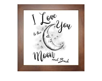 """I Love you to the moon and back, Gift for her, Best friend gift, gift for him, 6""""x 6"""" Photo tile, wall art, decor, birthday gift,Mothers day"""