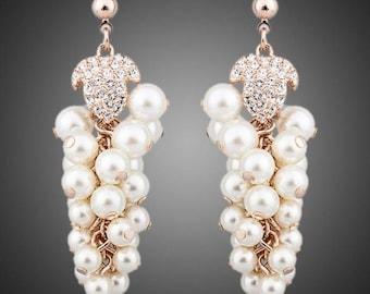 Pearls Cluster Drop Earrings