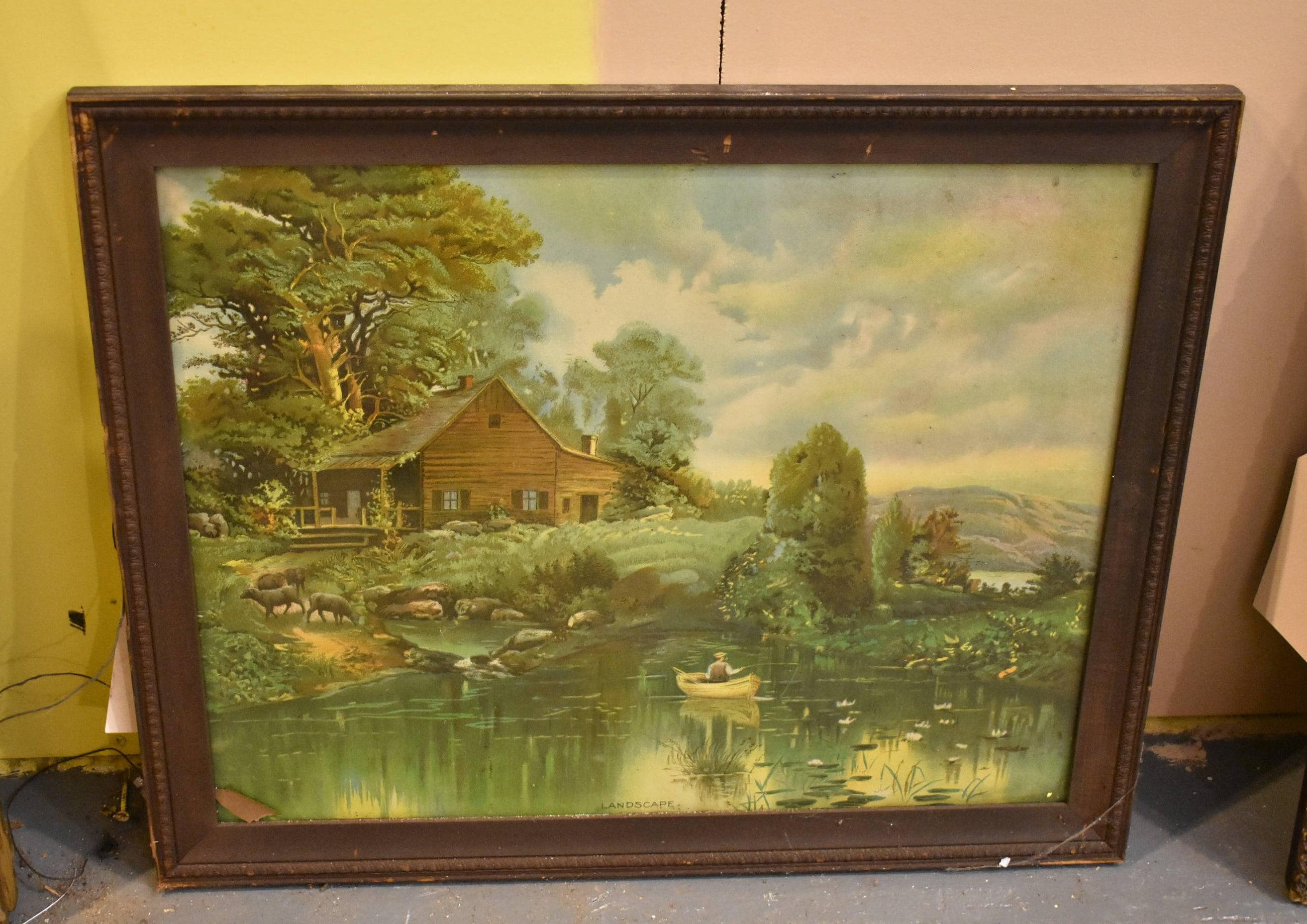 Antique Vintage Framed Wall Art Landscape Print Old Homestead