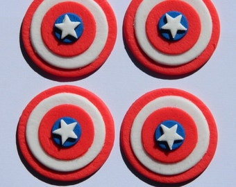 12 edible CAPTAIN AMERICA AVENGER marvel comic cake cupcake wedding topper decoration party wedding birthday engagement