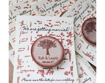 wooden save the date  magnets - Save the Date magnets - TREE FARM   wedding magnets - Rustic wedding magnets- Rustic favors wooden favors