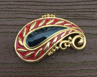 Vintage Jewelry Signed Monet 80s Enamel Paisley Pin Brooch