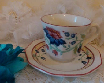 Churchill teacup set with blue poppies floral pattern, lovely floral cream cup and saucer set with blue flowers Staffordshire England