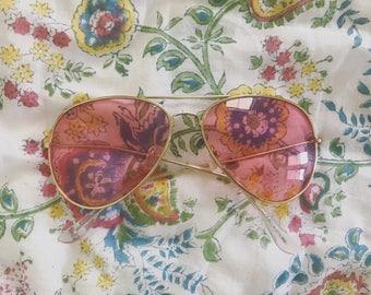 Pink aviator sunglasses <3