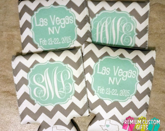 Monogram Can Coolers - Personalized Destination Coolers - Personalized Coolers - Vegas Vacation Can Coolies - Destination Can Coolers