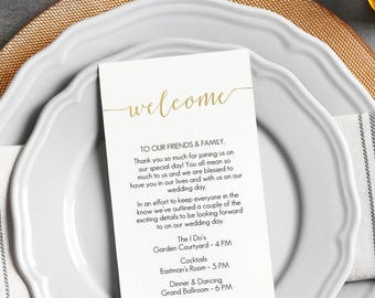 Gold Welcome Card Printable - Instant Download - DIY Template - Editable PDF - Gold Foil Welcome Bag card - Wedding - 4x9 inches - #GD0823