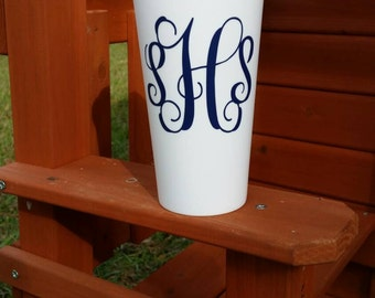 SALE!!!  Monogram Travel Coffee Cup, Travel Coffee Cup With Screw Lid, Large Travel Coffee Cup, Personalized Travel Coffee Cup