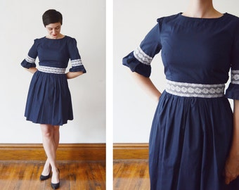 1960s Navy Dress with Flounce Sleeves - S/M