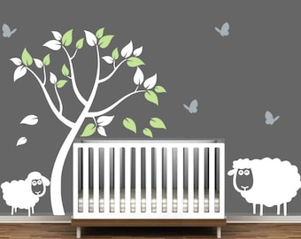 Nursery Tree Sticker With Butterflies, Sheep, And Lamb