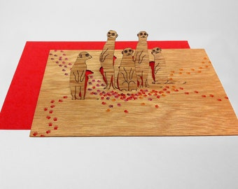 pop up cards wood with envelope - 3 meerkats cards