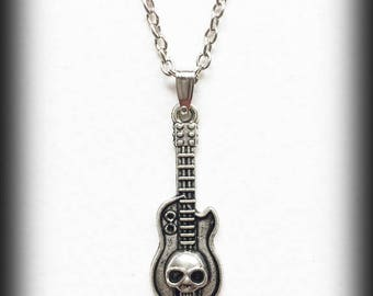 Guitar Charm Necklace, Gothic Silver Guitar Skull Pendant, Rock Jewelry, Alternative Jewelry, Handmade Necklace, Gift For Him, Punk Necklace