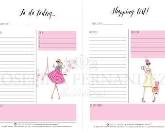 "Two ""Fashion Girls"" A5 Planner Printable Inserts, Printable To Do and Shopping lists with Fashion Illustrations, Undated planner inserts"