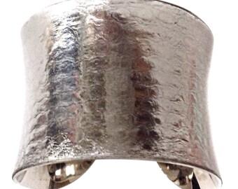 Silver Metallic Snakeskin Cuff Bracelet  - by UNEARTHED