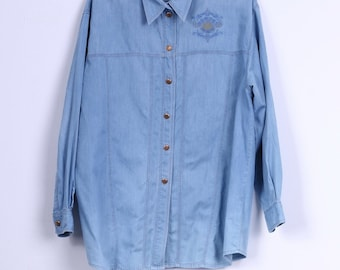 Gira Puccino Womens 42 XL Casual Shirt Cotton Blue Jeans Gold Buttons Embroidered