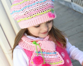 CROCHET PATTERN Parfait Hat & Scarf Crochet Pattern in PDF for Medium/toddler, Large/child, X-Large/adult
