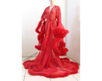 Luxury Sheer Fur Robe Lingerie. Feather trim robe with satin ties. 'Cherry Red' High quality lingerie