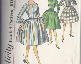 Simplicity 4573 Vintage 1960's Pattern; One piece Dress, Gathered, full skirt, Fitted, bodice - Bust 34