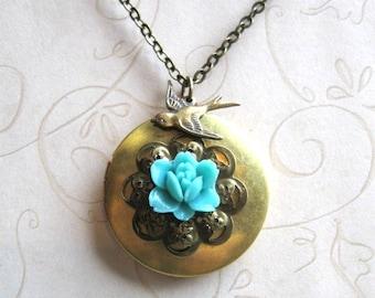 Vintage style locket necklace, blue flower, brass locket, brass bird charm, cottage chic, woodland, keepsake locket
