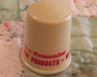 Vintage Celluloid Plastic Model Farms Dairy Products Advertising Sewing Thimble